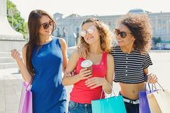 Happy female friends outdoors Royalty Free Stock Photo