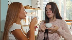 Happy female friends smiling to the camera, while having coffee together. Beautiful brunette woman and her best friend chatting over cup of tea. Friendship stock video