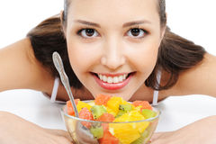 Happy female with fruits Royalty Free Stock Images