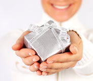 Happy female with a gift Royalty Free Stock Images