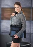 Happy female going to job interview Royalty Free Stock Photography