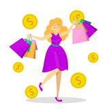 Happy female hold many shopping bags. Shopaholic vector illustration