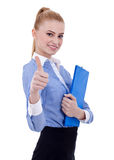 Happy female holding clipboard Royalty Free Stock Photo