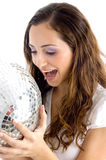 Happy female holding disco ball Royalty Free Stock Image