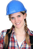 Happy female laborer Royalty Free Stock Images
