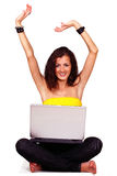 Happy female with laptop Royalty Free Stock Photos