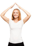 Happy female made a roof over your head Royalty Free Stock Photos