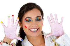 Happy female painter Royalty Free Stock Photography