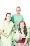 Happy female patient at dentist Royalty Free Stock Image