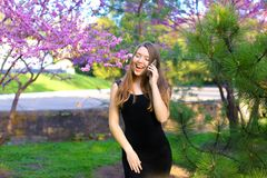 Happy female person walking in spring park and talking by smartphone. Happy female person walking in park and talking by smartphone near tree in blossom stock image
