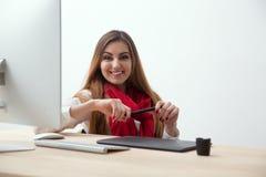 Happy female photo designer stock photos