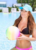 Happy female in the pool Stock Photography