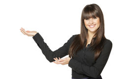 Happy female presenting product Stock Photography