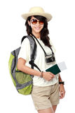 Happy female ready to go on vacation Stock Images