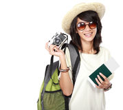 Happy female ready to go on vacation Royalty Free Stock Photography