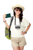 Happy female ready to go on vacation Royalty Free Stock Photos