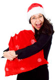 Happy female santa with gifts Royalty Free Stock Photography