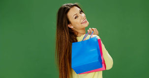 Happy female shopper carrying her purchases Royalty Free Stock Photos
