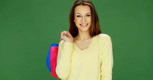 Happy female shopper carrying her purchases Stock Photography