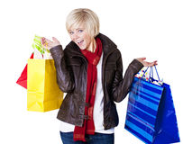 Happy Female Shopper isolated on white Stock Image