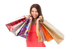 Happy female shopper Stock Photos