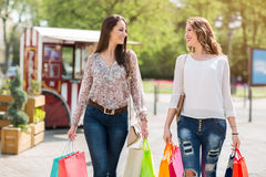 Happy female shoppers Stock Photography