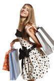 Happy female with shopping bags Royalty Free Stock Image