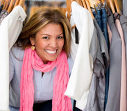 Happy female shopping Royalty Free Stock Photo