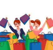 Happy female shopping customer holding shopping bags vector illustration