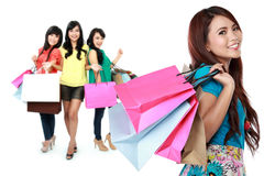 Happy female shopping Stock Photos