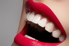 Happy female smile with white teeth & lips make-up