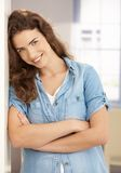 Happy female smiling arms crossed Royalty Free Stock Photos