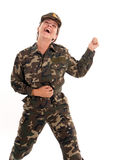 Happy female soldier Royalty Free Stock Image