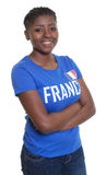 Happy female sports fan from France Stock Photos