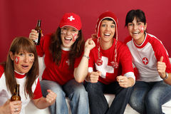 Happy female sports fans Royalty Free Stock Image