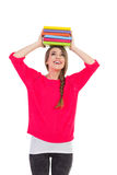 Happy female student with books Royalty Free Stock Photos