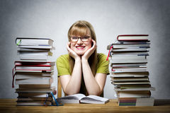 Happy female student with books Stock Image