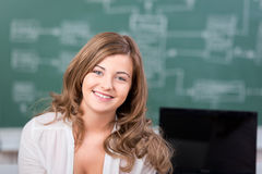 Happy Female Student In Classroom Royalty Free Stock Photos