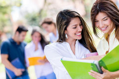 Happy female students Royalty Free Stock Photos
