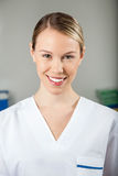 Happy Female Technician In Laboratory Stock Image