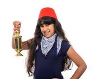 Happy Female Teenager with Fez Holding Ramadan Lantern. On White Background Royalty Free Stock Photo