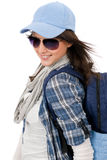 Happy female teenager wear cool outfit sunglasses. Smiling female teenager girl wear cool outfit and sunglasses Royalty Free Stock Photo