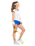 Happy female tennis player with racket and ball Royalty Free Stock Photos