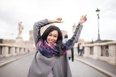 Happy Female Tourist On Sant Angelo Bridge Rome Italy Stock Image
