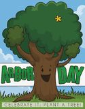 Happy Female Tree with Flower Celebrating Arbor Day, Vector Illustration. Happy, smiling, female tree with a yellow flower celebrating Arbor Day in a beautiful stock illustration