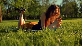 Happy female types sms or chat, sitting in park on grass. Woman chatting in telephone. stock footage
