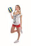 Happy female volleyball player Stock Photo