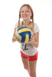 Happy female volleyball player Royalty Free Stock Image