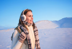 Happy female on winter holidays Stock Images