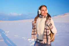 Happy female on winter holidays Stock Photos